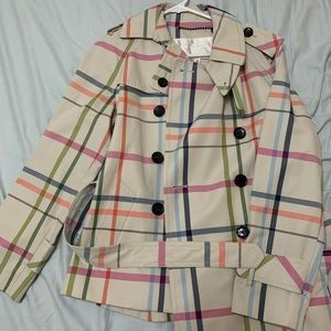Plaid Coach Trench Coat with matching Coach Scarf